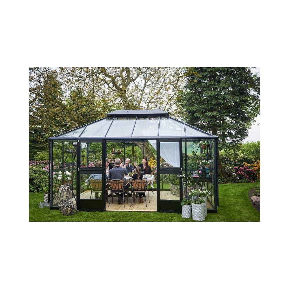 Juliana Grand Oase 130 tuinkamer, grijs gecoat, veiligheidsglas 3mm
