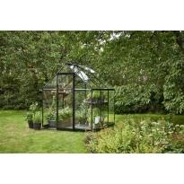 Halls Qube 66 tuinkas, zwart gecoat, veiligheidsglas 3mm/1