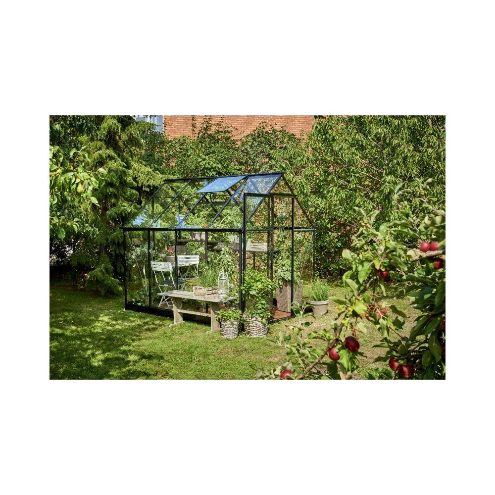 Halls Qube 86 tuinkas, zwart gecoat, veiligheidsglas 3mm/1