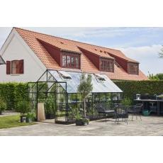 Halls Qube 168 tuinkas, zwart gecoat, veiligheidsglas 3mm/1