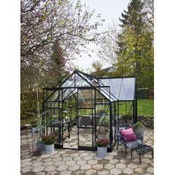 Halls Garden Room 129 tuinkamer, zwart gecoat, veiligheidsglas 3mm